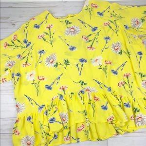 Asos Blouse 16 Yellow Floral Ruffle Semi Sheer